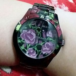 Guess Floral Stainless Steel Watch Rose